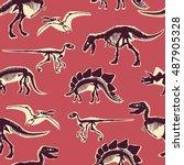 dinosaur skeleton bones... | Shutterstock .eps vector #487905328