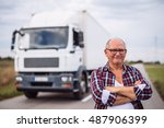 portrait of a senior truck... | Shutterstock . vector #487906399