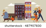old lady walking down the... | Shutterstock .eps vector #487907830