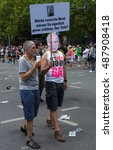 Small photo of BERLIN, GERMANY - JUNE 22, 2013: Christopher Street Day. Demonstration of support for gays and lesbians of Russia against homophobic of the Act passed by the State Duma of the Russian Federation.