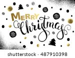 merry christmas and happy new... | Shutterstock .eps vector #487910398