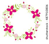 floral wreath vector... | Shutterstock .eps vector #487910806
