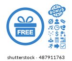 gift pictograph with bonus... | Shutterstock .eps vector #487911763
