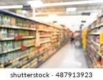 blurred image of supermarket... | Shutterstock . vector #487913923