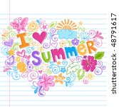 hand drawn i love summer... | Shutterstock .eps vector #48791617