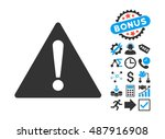 warning icon with bonus images. ...