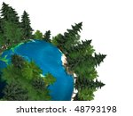 3D Illustration of the Earth globe covered with green trees growing out of it Isolated on white background - stock photo