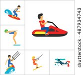 water sport icon set | Shutterstock .eps vector #487934743