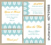 set of wedding cards with... | Shutterstock .eps vector #487939888