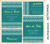 set of wedding cards with... | Shutterstock .eps vector #487939900