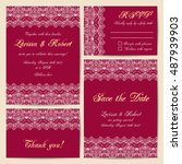 set of wedding cards with... | Shutterstock .eps vector #487939903