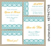 set of wedding cards with... | Shutterstock .eps vector #487947748