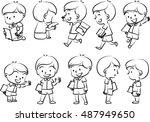 vector drawing school boy...   Shutterstock .eps vector #487949650