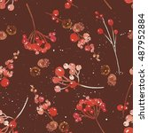 watercolor seamless christmas... | Shutterstock . vector #487952884