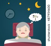 insomnia  sleeplessness  old... | Shutterstock .eps vector #487954600