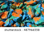 pebbles painted bright colored... | Shutterstock . vector #487966558