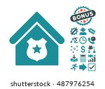police office icon with bonus... | Shutterstock .eps vector #487976254