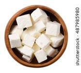 greek feta cheese cubes in a... | Shutterstock . vector #487985980