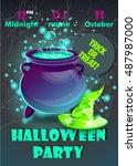 halloween party poster... | Shutterstock .eps vector #487987000