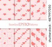 seamless vector valentine's... | Shutterstock .eps vector #487997050