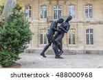 Small photo of AVIGNON, FRANCE - SEPTEMBER 18, 2016:Sculpture head-butt of Zinedine Zidane to the Italian Marco Matezzari during the 2006 soccer World Cup final.