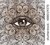 all seeing eye in ornate round... | Shutterstock .eps vector #488019370