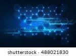 abstract technology hexagon... | Shutterstock .eps vector #488021830