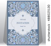 wedding invitation or card with ... | Shutterstock .eps vector #488025130