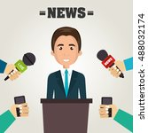 avatar man and news microphones | Shutterstock .eps vector #488032174