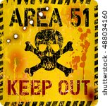 area fifty one sign  restricted ... | Shutterstock .eps vector #488034160