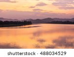 beautiful sunset in huong river ... | Shutterstock . vector #488034529