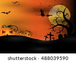 halloween background. dark... | Shutterstock .eps vector #488039590
