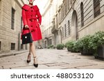 Colorful Red Coat With Black...