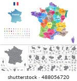 france high detailed vector map ... | Shutterstock .eps vector #488056720