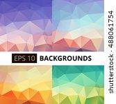 set of vector abstract... | Shutterstock .eps vector #488061754
