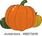 illustration of three pumpkins... | Shutterstock .eps vector #488073658