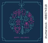 christmas ball design with thin ... | Shutterstock .eps vector #488074318