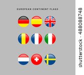 set of european flags on a grey ... | Shutterstock .eps vector #488088748