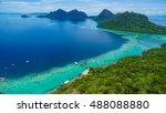 view on top of bohey dulang... | Shutterstock . vector #488088880