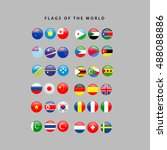 set of world flags on a grey... | Shutterstock .eps vector #488088886