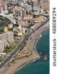 Small photo of Aerial photography Beach and Bil Bil Castle, Benalmadena, Costa del Sol, Malaga, Spain