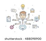 office character manager in the ... | Shutterstock .eps vector #488098900