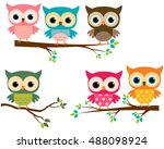 vector set of cute owls and... | Shutterstock .eps vector #488098924