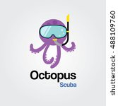 octopus scuba logo template for ... | Shutterstock .eps vector #488109760