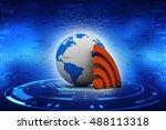 3d rendering wireless world... | Shutterstock . vector #488113318
