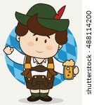 little cute bavarian wearing... | Shutterstock .eps vector #488114200