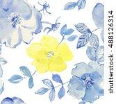 blue watercolour flowers.... | Shutterstock . vector #488126314