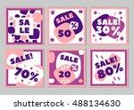 set of creative  trendy hand... | Shutterstock .eps vector #488134630