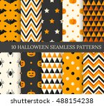 ten halloween different... | Shutterstock .eps vector #488154238