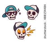 set of funny cartoon skull... | Shutterstock . vector #488154484